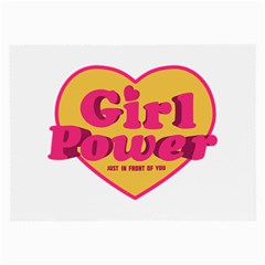 Girl Power Heart Shaped Typographic Design Quote Glasses Cloth (large, Two Sided) by dflcprints