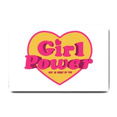 Girl Power Heart Shaped Typographic Design Quote Small Door Mat by dflcprints