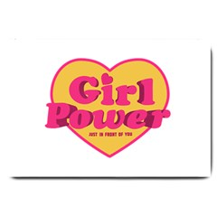 Girl Power Heart Shaped Typographic Design Quote Large Door Mat by dflcprints