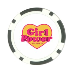 Girl Power Heart Shaped Typographic Design Quote Poker Chip by dflcprints