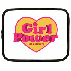 Girl Power Heart Shaped Typographic Design Quote Netbook Sleeve (large) by dflcprints