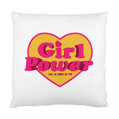 Girl Power Heart Shaped Typographic Design Quote Cushion Case (single Sided)  by dflcprints