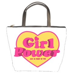 Girl Power Heart Shaped Typographic Design Quote Bucket Handbag by dflcprints