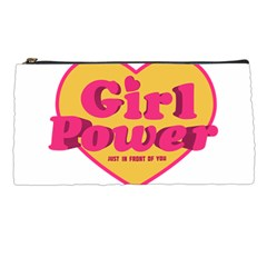 Girl Power Heart Shaped Typographic Design Quote Pencil Case by dflcprints