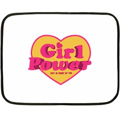Girl Power Heart Shaped Typographic Design Quote Mini Fleece Blanket (two Sided) by dflcprints