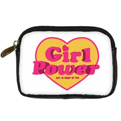 Girl Power Heart Shaped Typographic Design Quote Digital Camera Leather Case by dflcprints