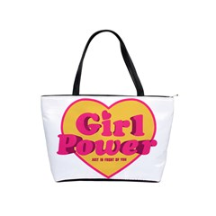 Girl Power Heart Shaped Typographic Design Quote Large Shoulder Bag by dflcprints