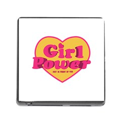 Girl Power Heart Shaped Typographic Design Quote Memory Card Reader With Storage (square) by dflcprints
