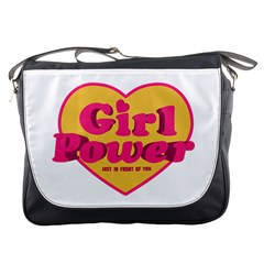 Girl Power Heart Shaped Typographic Design Quote Messenger Bag by dflcprints