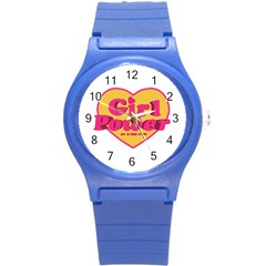 Girl Power Heart Shaped Typographic Design Quote Plastic Sport Watch (small) by dflcprints