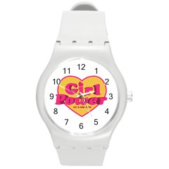 Girl Power Heart Shaped Typographic Design Quote Plastic Sport Watch (medium) by dflcprints