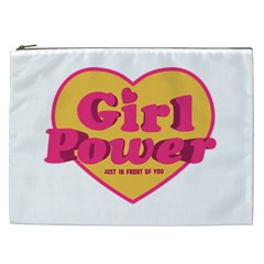 Girl Power Heart Shaped Typographic Design Quote Cosmetic Bag (xxl) by dflcprints
