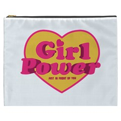 Girl Power Heart Shaped Typographic Design Quote Cosmetic Bag (xxxl) by dflcprints