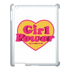 Girl Power Heart Shaped Typographic Design Quote Apple Ipad 3/4 Case (white) by dflcprints
