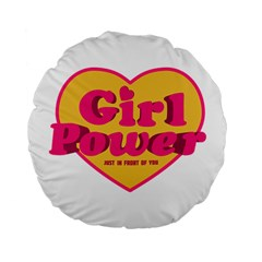 Girl Power Heart Shaped Typographic Design Quote 15  Premium Round Cushion  by dflcprints