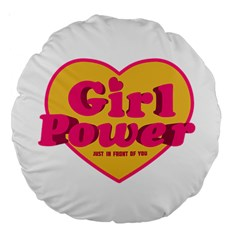 Girl Power Heart Shaped Typographic Design Quote 18  Premium Round Cushion  by dflcprints
