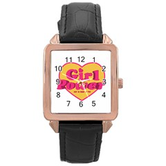 Girl Power Heart Shaped Typographic Design Quote Rose Gold Leather Watch  by dflcprints