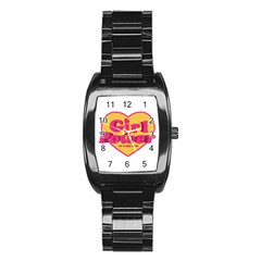 Girl Power Heart Shaped Typographic Design Quote Stainless Steel Barrel Watch by dflcprints