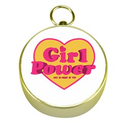 Girl Power Heart Shaped Typographic Design Quote Gold Compass by dflcprints