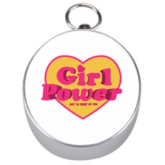 Girl Power Heart Shaped Typographic Design Quote Silver Compass by dflcprints