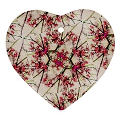 Red Deco Geometric Nature Collage Floral Motif Heart Ornament by dflcprints