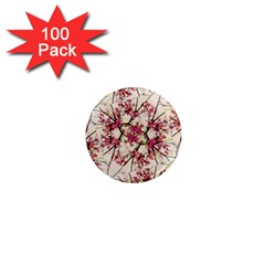Red Deco Geometric Nature Collage Floral Motif 1  Mini Button Magnet (100 Pack) by dflcprints