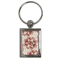 Red Deco Geometric Nature Collage Floral Motif Key Chain (rectangle) by dflcprints