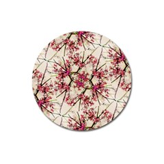 Red Deco Geometric Nature Collage Floral Motif Magnet 3  (round) by dflcprints