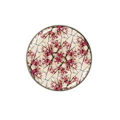 Red Deco Geometric Nature Collage Floral Motif Golf Ball Marker (for Hat Clip) by dflcprints