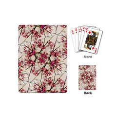 Red Deco Geometric Nature Collage Floral Motif Playing Cards (mini) by dflcprints
