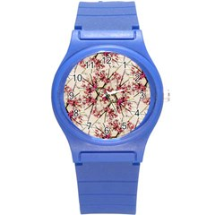 Red Deco Geometric Nature Collage Floral Motif Plastic Sport Watch (small) by dflcprints