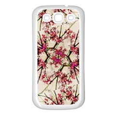 Red Deco Geometric Nature Collage Floral Motif Samsung Galaxy S3 Back Case (white) by dflcprints
