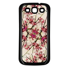 Red Deco Geometric Nature Collage Floral Motif Samsung Galaxy S3 Back Case (black) by dflcprints