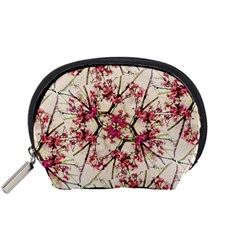 Red Deco Geometric Nature Collage Floral Motif Accessory Pouch (small)