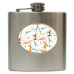 Colorful Splatter Abstract Shapes Hip Flask by dflcprints