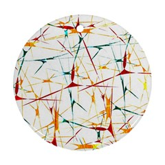 Colorful Splatter Abstract Shapes Round Ornament (two Sides) by dflcprints