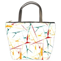 Colorful Splatter Abstract Shapes Bucket Handbag by dflcprints