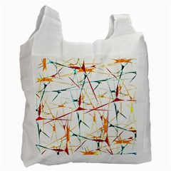 Colorful Splatter Abstract Shapes White Reusable Bag (one Side) by dflcprints