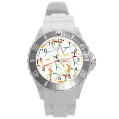 Colorful Splatter Abstract Shapes Plastic Sport Watch (large) by dflcprints