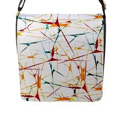 Colorful Splatter Abstract Shapes Flap Closure Messenger Bag (large) by dflcprints