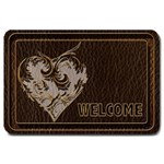 Leather-Look Heart Large Doormat