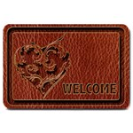 Leather-Look Heart Red Large Doormat