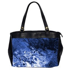 Blue Waves Abstract Art Oversize Office Handbag (two Sides) by LokisStuffnMore
