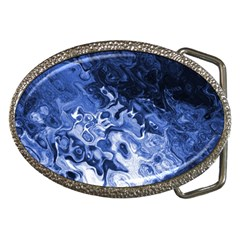 Blue Waves Abstract Art Belt Buckle (oval)
