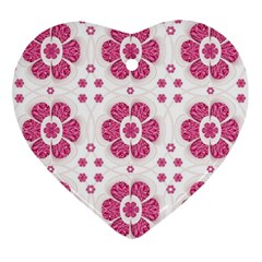 Sweety Pink Floral Pattern Heart Ornament