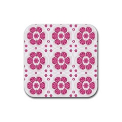 Sweety Pink Floral Pattern Drink Coaster (square) by dflcprints