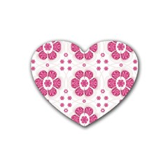 Sweety Pink Floral Pattern Drink Coasters (heart) by dflcprints