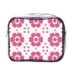 Sweety Pink Floral Pattern Mini Travel Toiletry Bag (one Side) by dflcprints