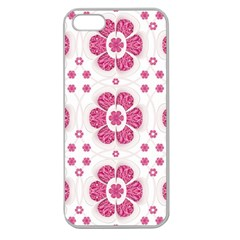 Sweety Pink Floral Pattern Apple Seamless Iphone 5 Case (clear) by dflcprints