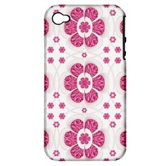 Sweety Pink Floral Pattern Apple Iphone 4/4s Hardshell Case (pc+silicone) by dflcprints